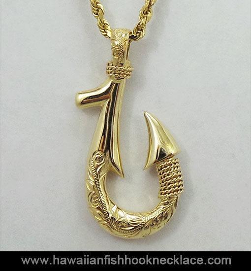 Kealamauloa 14k gold fish hook pendant hawaiian fish hook necklace gold fish hook necklace mozeypictures Images