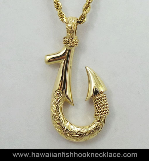 Kealamauloa 14k gold fish hook pendant hawaiian fish for Fish hook necklace