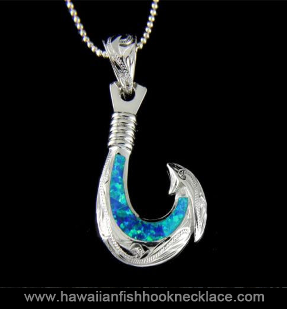 Opal inlay sterling silver 925 hawaiian scroll fish hook for Gold fish hook necklace