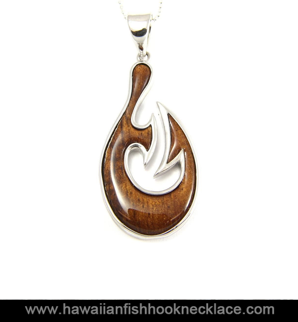 Hawaiian koa silver fish hook necklace hawaiian fish for Gold fish hook necklace