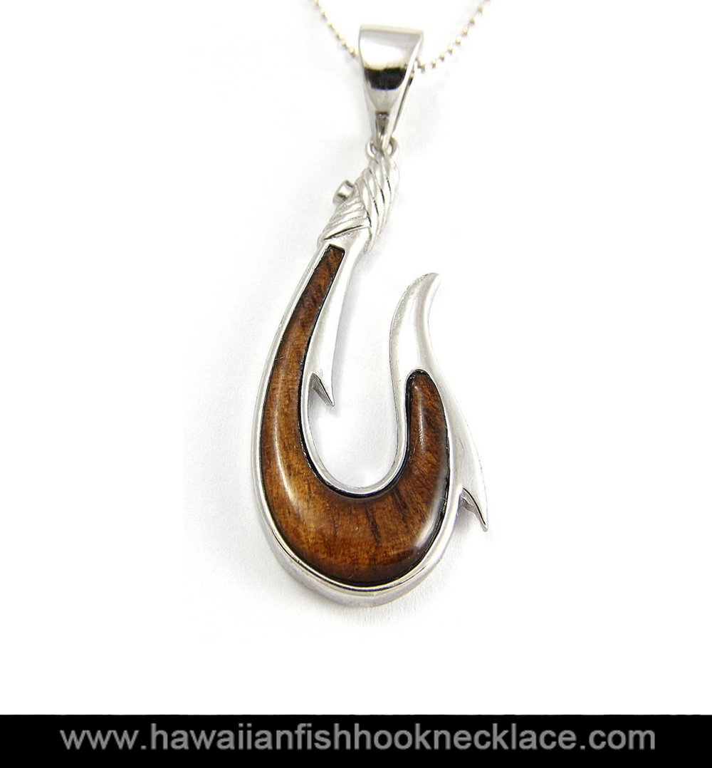 Hawaiian Koa Wood Fish Hook Pendant Sterling Silver 925