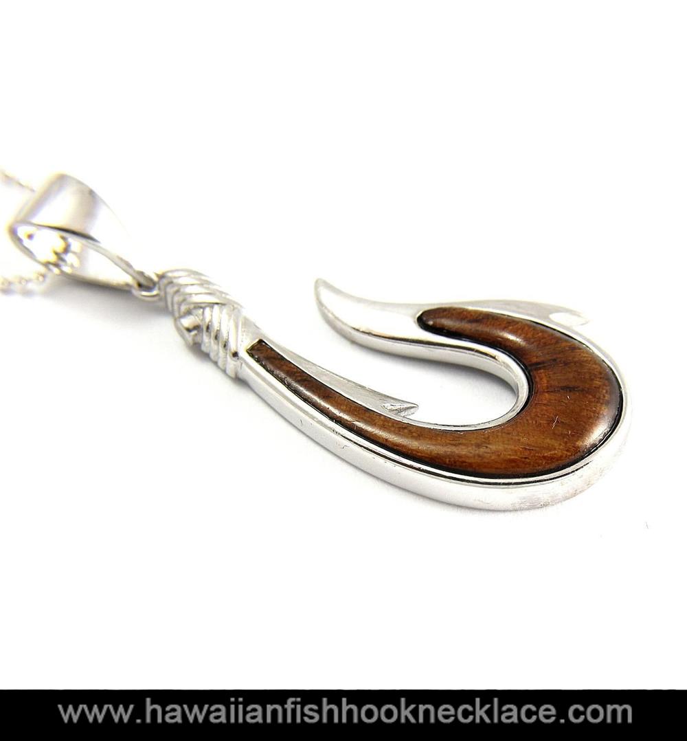 Hawaiian Koa Wood Fish Hook Pendant Sterling Silver 925